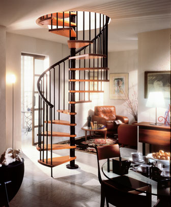 The Gamia Wood Spiral Stair .