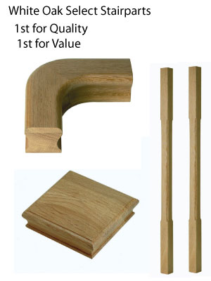 Select range of White oak stairparts - Trade Prices